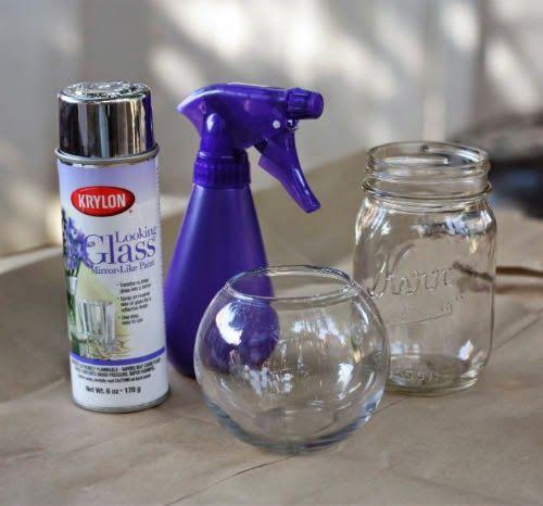 Cómo pintar unos frascos de vidrio con terminado metalizado ~ Mimundomanual
