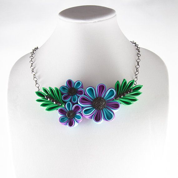 Blue Purple and Green Flower Necklace Black by DesignsInBlooms, $25.00 - so pretty and colourful