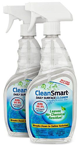CleanSmart Daily Surface Cleaner, Home Use and CPAPs. Kills 99.9% of Bacteria, Viruses, Germs, Mold, Fungus. Leaves No Chemical Residue!!! Great CPAP cleaner, CPAP sanitizer. 23oz, 2PK  Kills 99.9% of germs (viruses, bacteria, mold, fungus) with medical-field Hypochlorous technology. After killing harmful bacteria & germs, it becomes saline water and can air dry.  No harsh chemicals, no alcohol, no added fragrance, contains no bleach. IMPORTANT: has a light scent like a chlorine swimmi...