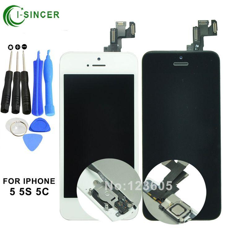 For iPhone 5S 5c 5 LCD display screen digitizer complete & inside+outside main key LCD panel, speaker, small camera, sensor flex