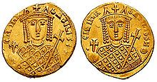 Solidus-Irene-sb1599.jpg Irene of Athens (Greek: Εἰρήνη ἡ Ἀθηναία; c. 752 – 9 August 803 AD), also known as Irene Sarantapechaina (Greek: Εἰρήνη Σαρανταπήχαινα), was Byzantine (Eastern Roman) empress from 797 to 802. Before that, Irene was empress consort from 775 to 780, and empress dowager and regent from 780 to 797. She is best known for ending Iconoclasm.
