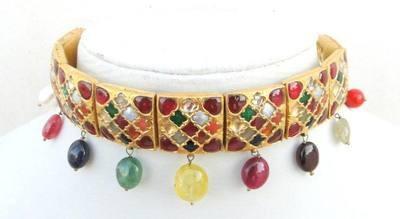 RARE Vintage Antique Handmade 20K Gold Navratan Choker Necklace Rajasthan India | eBay