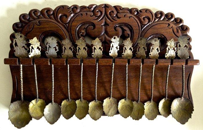 Djokja Silver-plated Teaspoons in Carved Rack - Indonesia - Ca. 1920