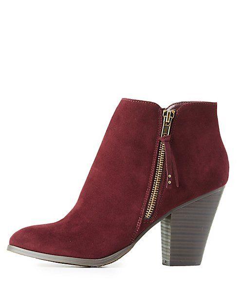 Side-Zip Chunky Heel Booties #charlottelook
