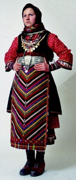 Traditional festive costume from Orini (Serres, Greek Macedonia). Clothing style: rural, ca. 1900.