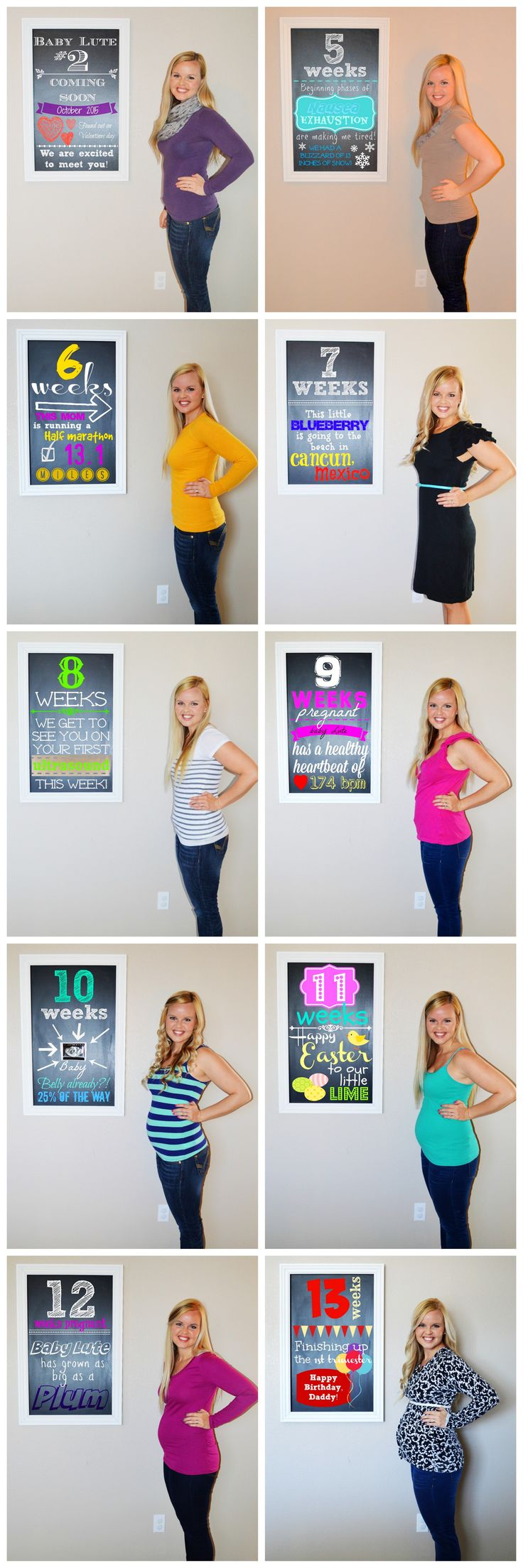 I am a fan of progression collages. In my first pregnancy, I didn't start showing until the second trimester.  With baby #2, that's a different story.  See my progression of weeks 4-13: