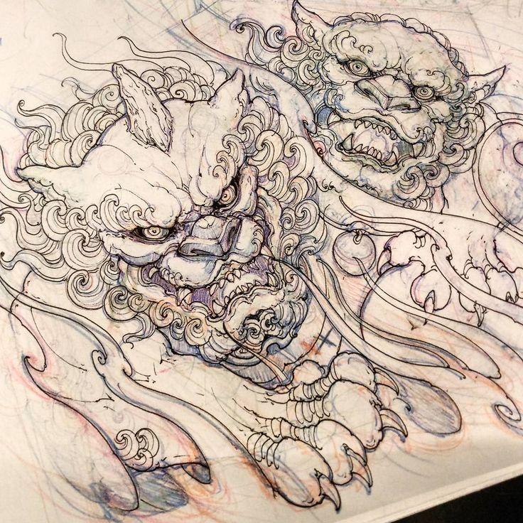"4,473 Me gusta, 14 comentarios - David Hoang (@davidhoangtattoo) en Instagram: ""Foodogs. #foodog #sketch #drawing #illustration #asiantattoo #asianink #irezumi #tattoo"""