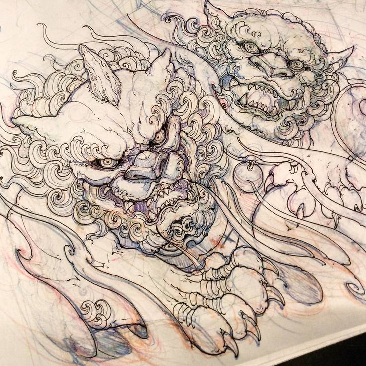 "4,473 Me gusta, 14 comentarios - David Hoang (@davidhoangtattoo) en Instagram: ""Foodogs. #foodog #sketch #drawing #illustration #asiantattoo #asianink #irezumi #tattoo"""