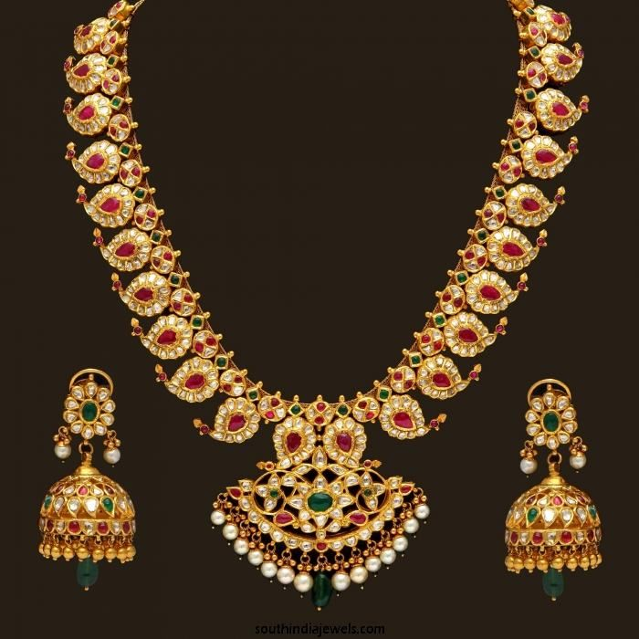 Indian Gold Jewellery From Websites For: Gold Antique Mango Mala And Matching Jhumkas