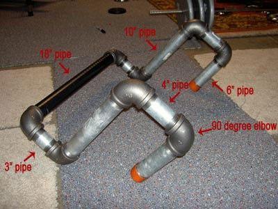"""tubos de acero galvanizado de 1 ¼ por su resistencia pero también puede usar un tubo de 1 pulgada para ahorrar un poco de dinero.  8 codos de 90 grados. 1 tubo de 18"""" 2 tubos de 10"""" 2 tubos de 6"""" 2 tubos de 4"""" –según sea la profundidad de la viga 2 tubos de 3"""" Cinta aislante Una llave de tubo o algo para hacer palanca"""