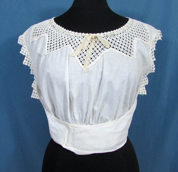 Antique Camisole  Corset Cover  White cotton lace by JanesVintage