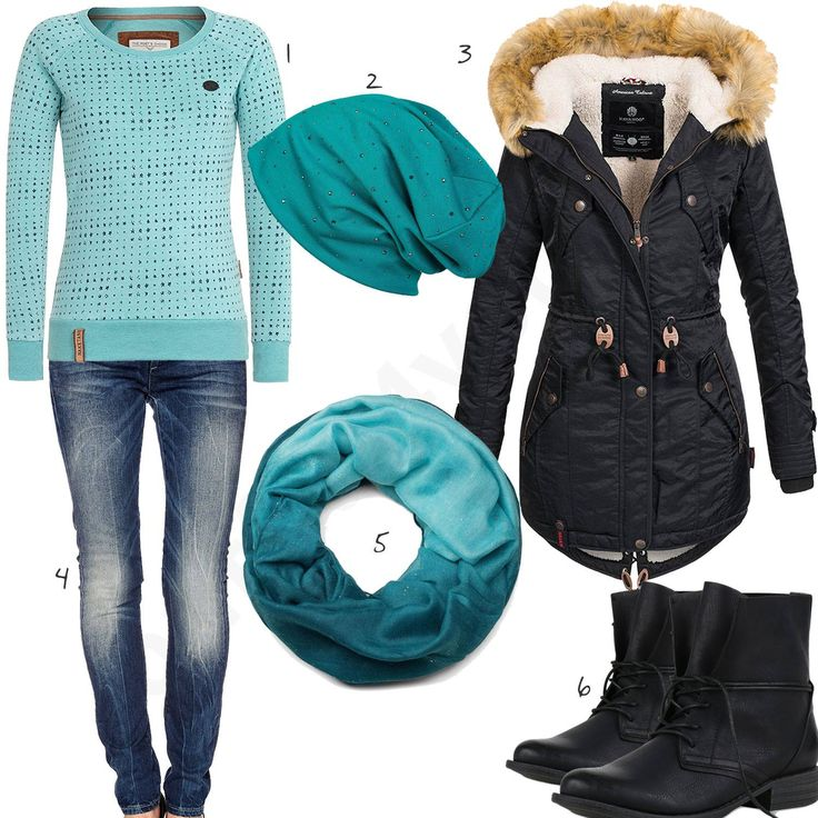 Schwarz-Türkises Damenoutfit mit warmen Mantel (w0729) #naketano #mantel #schal #outfit #style #fashion #womensfashion #womensstyle #womenswear #clothing #frauenmode #damenmode #handtasche  #inspiration #frauenoutfit #damenoutfit