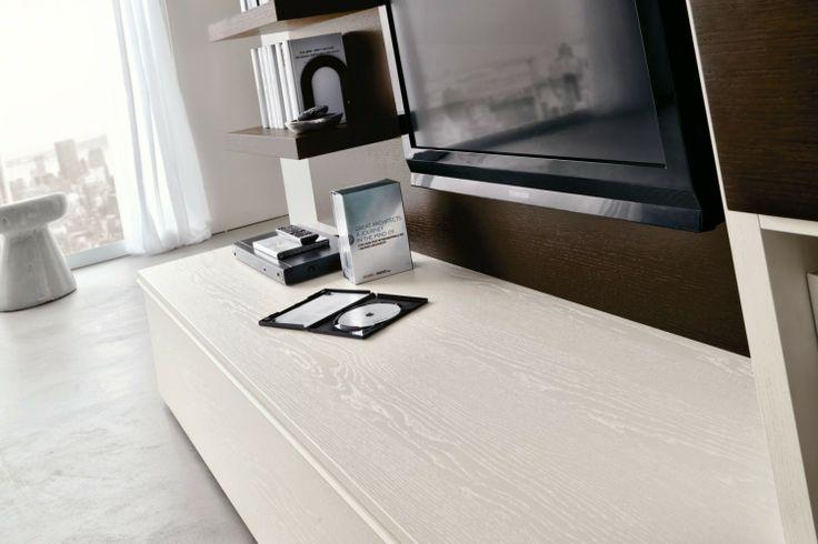 Parete Attrezzata per soggiorno con postazione PC 552 - dettaglio base contenitore in laccato poro aperto bianco puro con due cassetti interni | Napol.it