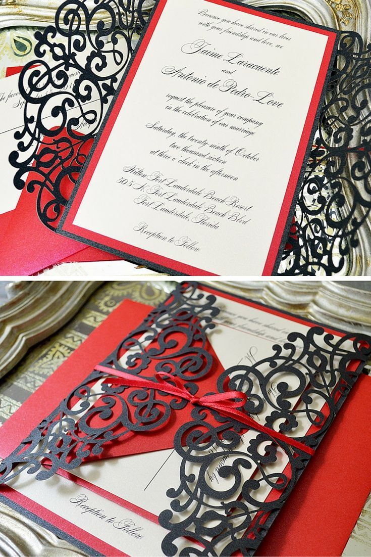 second wedding invitations wording%0A Black and Red Laser Cut Wedding Invitation by PAPER  u     LACE