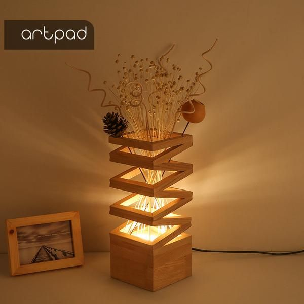 1 Japanese Style Wood Table Lamp Home Accent Living Room Bedroom Off Asia Home Gifts Wooden Lamps Design Handcrafted Lamp Table Lamp Wood