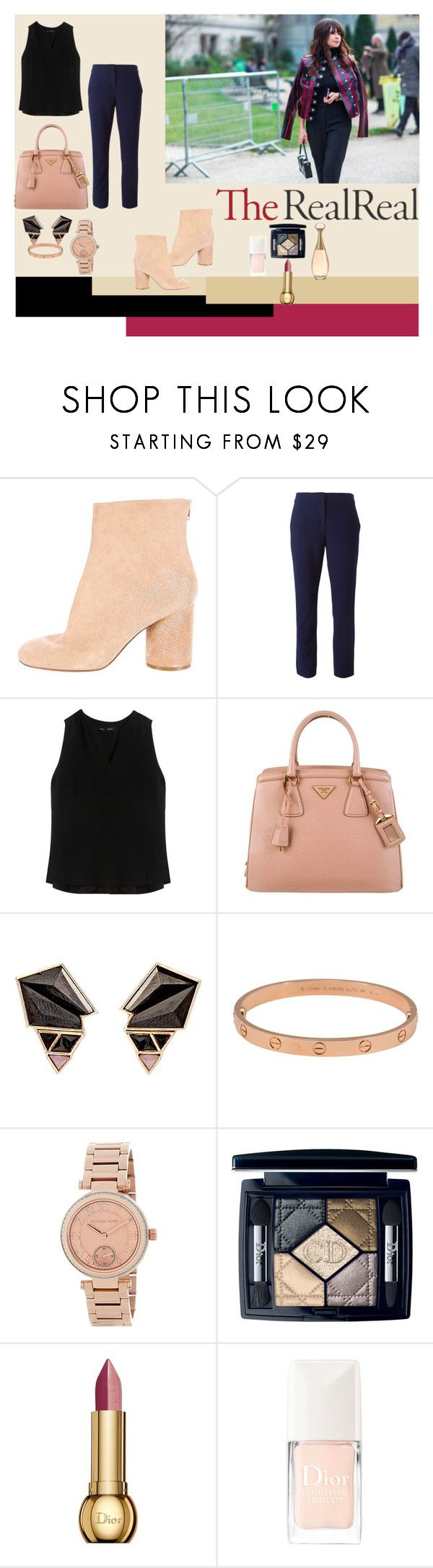 """Fall Style With The RealReal: Contest Entry"" by popescu-io on Polyvore featuring Maison Margiela, Diane Von Furstenberg, Proenza Schouler, Prada, Nak Armstrong, Cartier, MICHAEL Michael Kors and Christian Dior"
