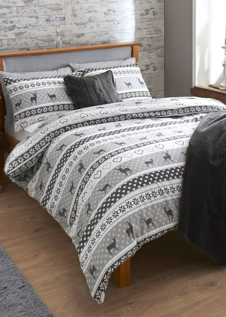 Fairisle Stag Print Brushed Cotton Bedding Set - Matalan