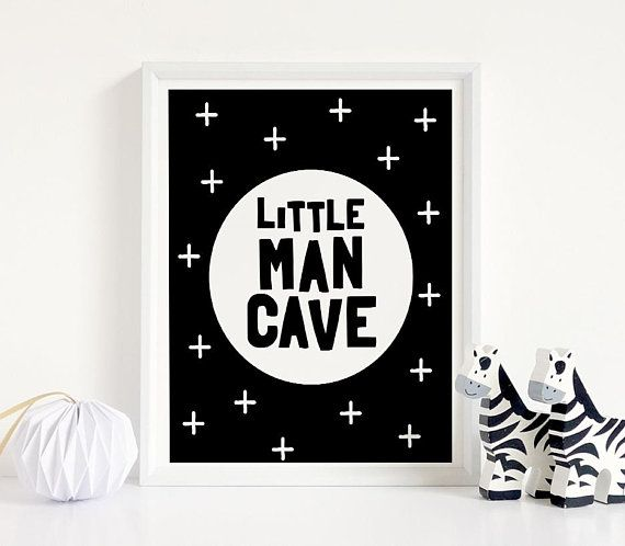 Little Man Cave Printable Art Monochrome Boy Room Decor Boy Etsy Nursery Wall Art Boy Boys Room Decor Lettering