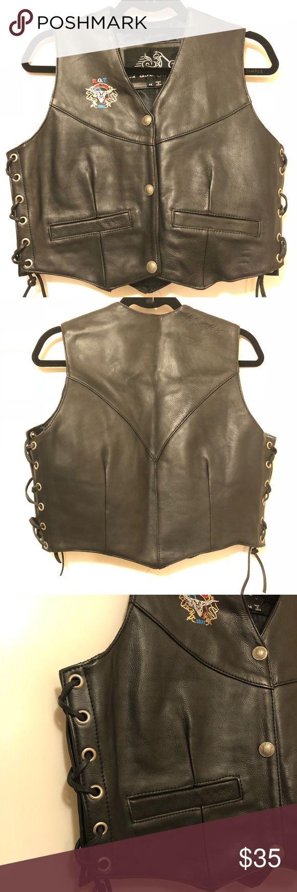 Women's leather biker vest Womens ROT Rally 1999 Black leather biker vest with tie sides.  Nice soft leather abs in great condition. Fast Gear Jackets & Coats Vests