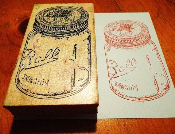 ball mason jar stamp   Ball Jar / Mason Jar Rubber Stamp