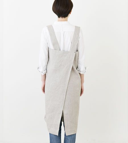 Fog Linen Apron | Square Cross | Natural