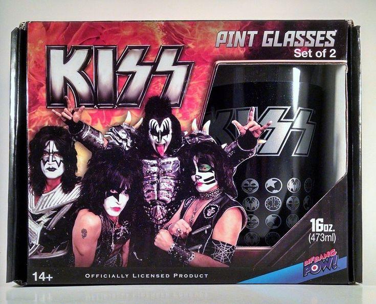 KISS Pint Glasses Set of 2 (16 oz each) by Bif Bang Pow! New Simmons Stanley