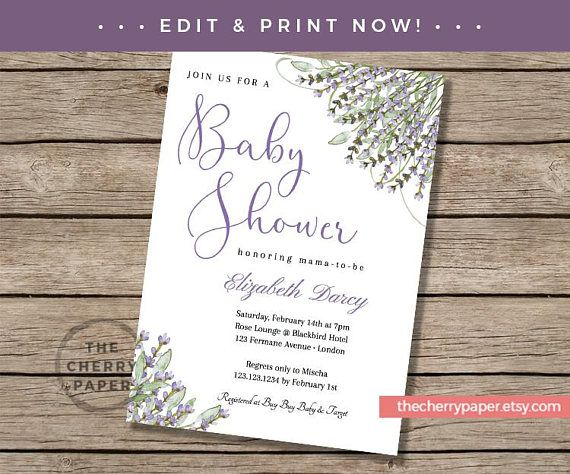 Invite Template, Printable,Baby Shower, Invitations, Invites,Party,Lavender, Flower, Purple, Floral, Editable, Elegant, Instant Download
