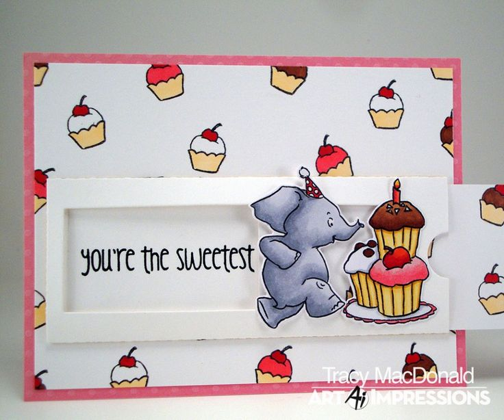 Art Impressions Rubber Stamps: Ai Slider die and 4802 – Elephant Slider Set. Handmade interactive card.