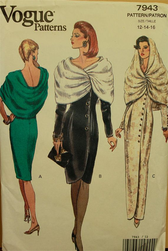 1990s  Dress Draped Attached Cape Vogue Pattern by patterntreasury, $17.95