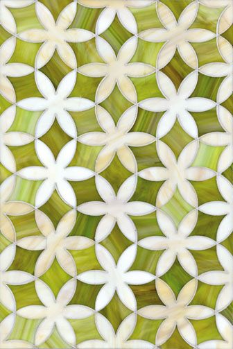 Seriously gorgeous mosaic tiles in natural greens.