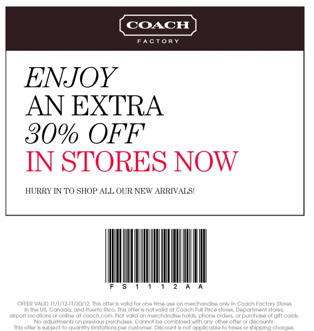 8 best coupons and good deals images on pinterest printable extra 30 off at coach factory locations coupon via the coupons app fandeluxe Images