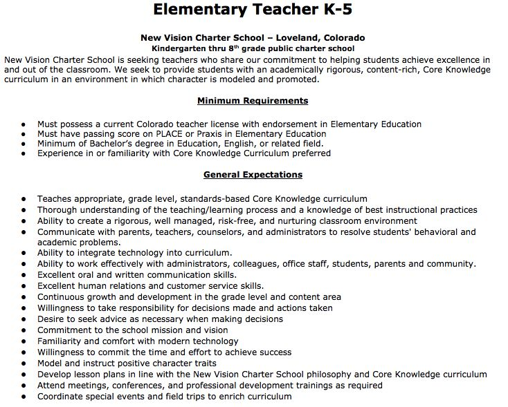 Elementary Teacher Job Description Elementary Teacher K5
