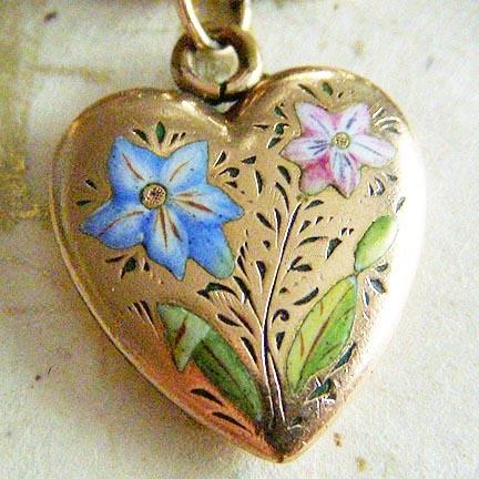 Vintage enameled flowers heart ~ A Genuine Find