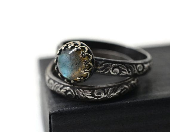 Labradorite Wedding Set  Renaissance Style Engagement Ring Set of Two   Oxidized Silver Women s Natural Stone Jewelry  Custom Engraving92 best Engagement Wedding Rings  images on Pinterest   Jewelry  . Hippie Wedding Rings. Home Design Ideas