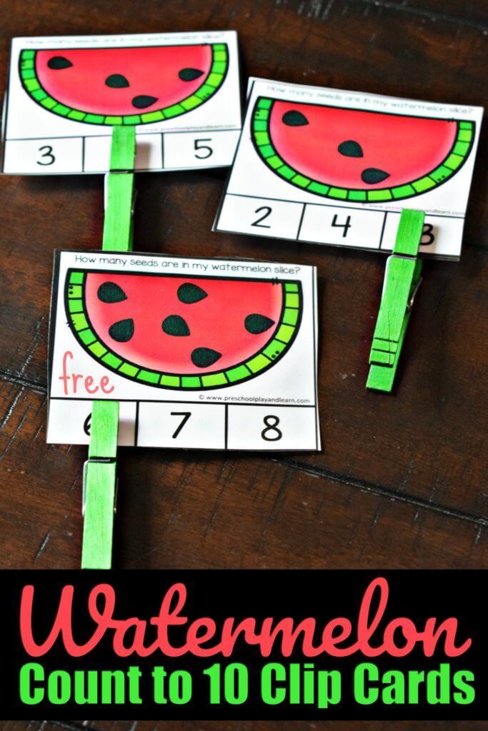 FREE Watermelon Count to 10 Clip Cards- this free …