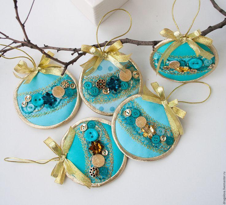Купить Новогодние подвески Бирюзовые с Золотом - бирюзовый, новогодний сувенир, новогодний декор, новогоднее украшение