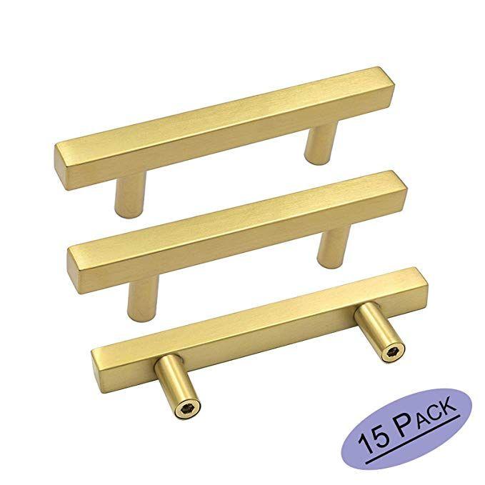 Goldenwarm Brushed Gold Cabinet Hardware Brass Cabinet Pulls 15