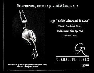 "Joyeria GR- Guadalupe Reyes:  Dije "" Colibrí Abrazando la Luna""Diseño: Guadalup..."
