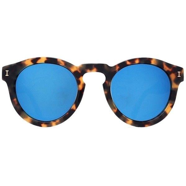 Pre-owned Illesteva Leonard Sunglasses Tortoise With Blue Flash Mirror... ($162) ❤ liked on Polyvore featuring accessories, eyewear, sunglasses, mirrored sunglasses, mirror lens sunglasses, blue mirrored sunglasses, round sunglasses and round mirrored sunglasses