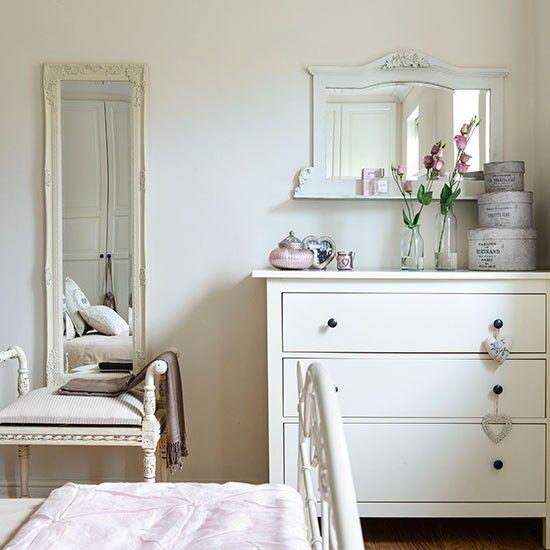 Weiß Schlafzimmer mit Französisch-Stil Spiegel Wohnideen Living Ideas