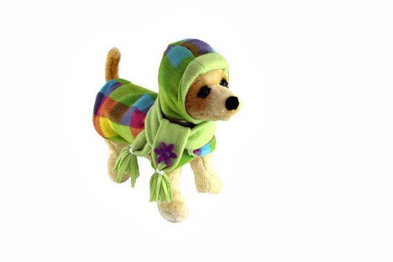 Fleece Coat for Dog in Multi Color Squares - Jacket for Dog Lined W/ Premium Fleece -  CUSTOM MADE - Dog Coats For Winter-  Warm!