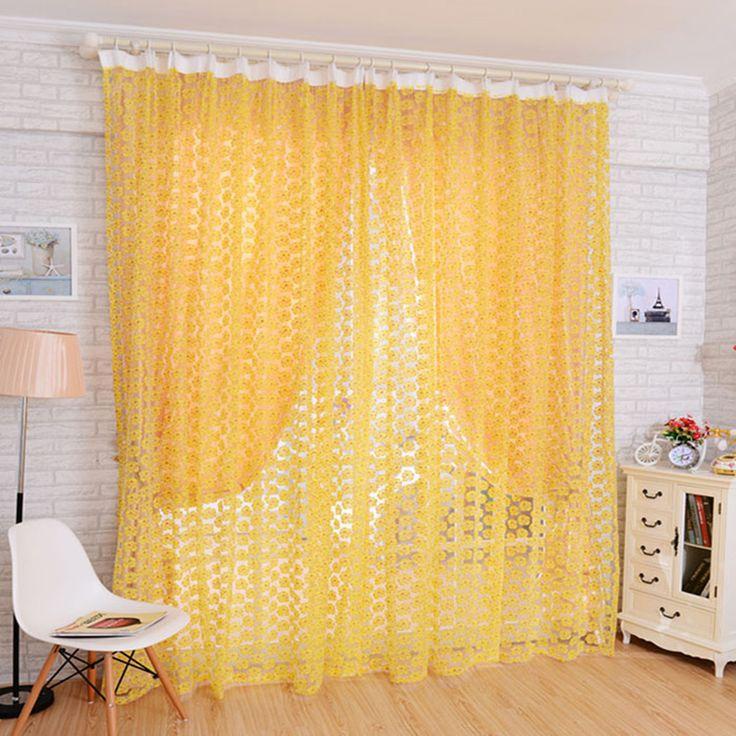 Hot Door Window Decor Curtain Drape Panel Rose Design Voile Sheer Scarf Valance
