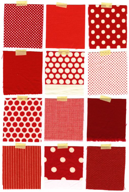 red fabric scrapsPolka Dots, Red, Colors Stories, Yearofcolor Pattern, Book Covers, Inchmark Journals, Quilt Fabrics, Colorsand Patternsi, Fabrics Pattern