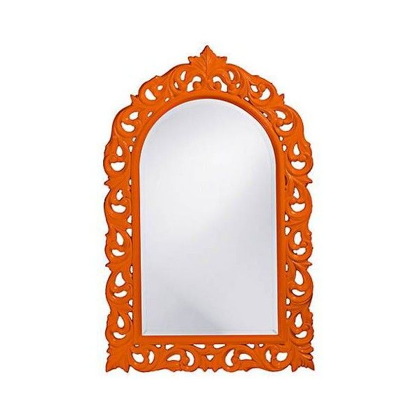 "Howard Elliott Orleans 30"" X 47"" Orange Wall Mirror (435 CAD) ❤ liked on Polyvore featuring home, home decor, mirrors, howard elliott, orange mirror, arched wall mirror, howard elliott mirror and arch mirror"