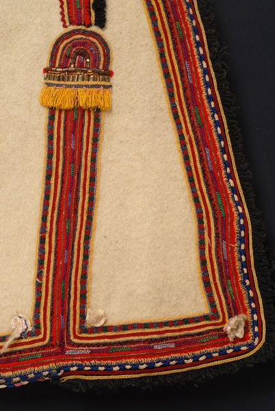 Greece, Macedonia, Florina, sleeveless woollen coat (sagias), felt, gold thread, metal foil, wool thread, saddle blanket wool fringe, beginning of 20th century