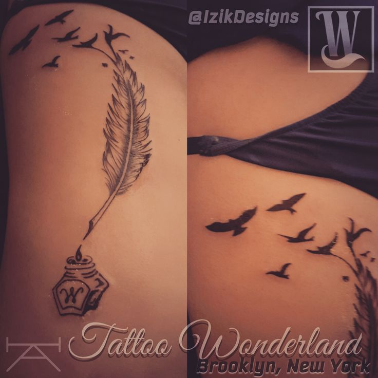 1000 ideas about feather rib tattoos on pinterest upper for Initial tattoos on ribs