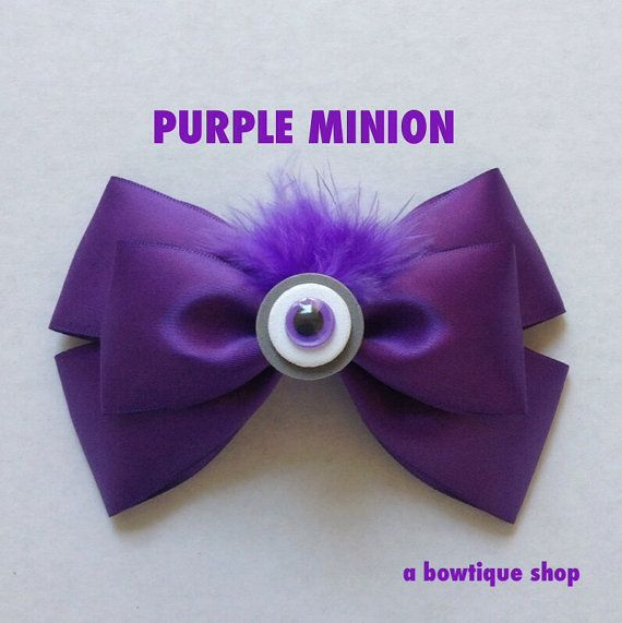 purple minion hair bow by abowtiqueshop on Etsy