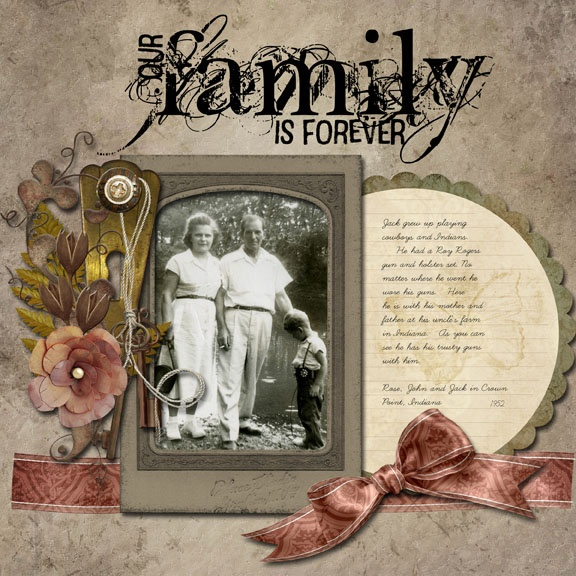 Family is Forever...heritage colors, ribbon embellishment and circled journaling are all lovely elements of this heritage layout.