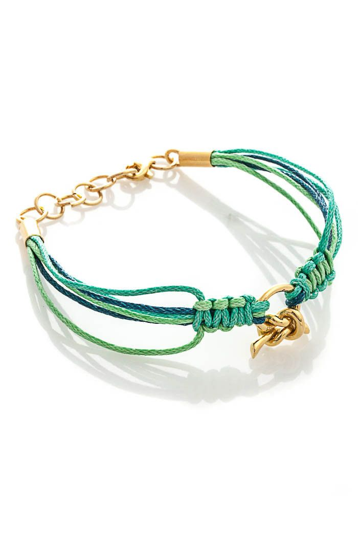 Ready, hand-woven weave macrame bracelet. The central decoration of bracelets is gold-plated connector made of silver. Limited edition.