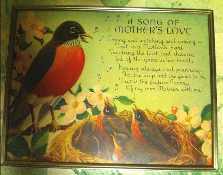 Vintage Mother S Day Poem W Robin Amp Nest In Frame Vintage Dear Robins The Herald Of Spring